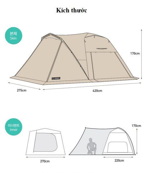 Kích thước của Lều 2 lớp du lịch Kazmi K20T3T006