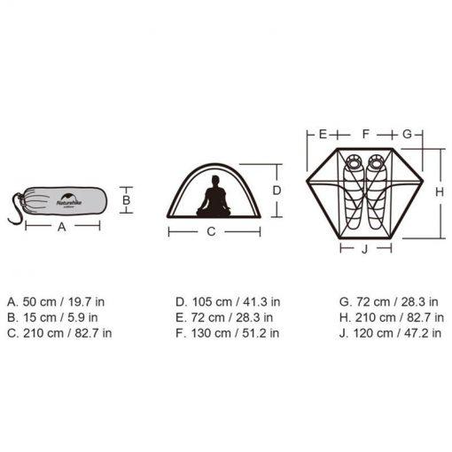 Thông số kỹ thuật của Lều 2 người (lều đôi) Naturehike NH17K240-Y