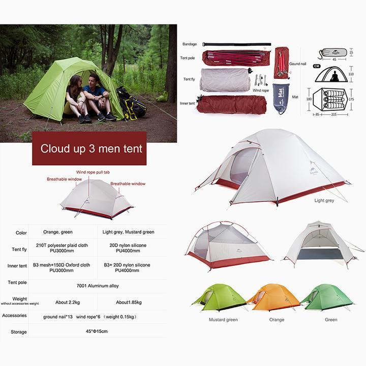 Kích thước của Lều cắm trại Naturehike NH18T030-T 3 người
