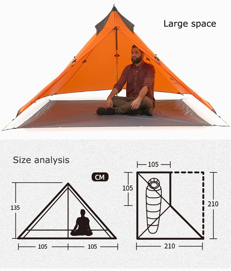 Kích thước của Lều cắm trại mini siêu nhẹ Naturehike NH17T030-L