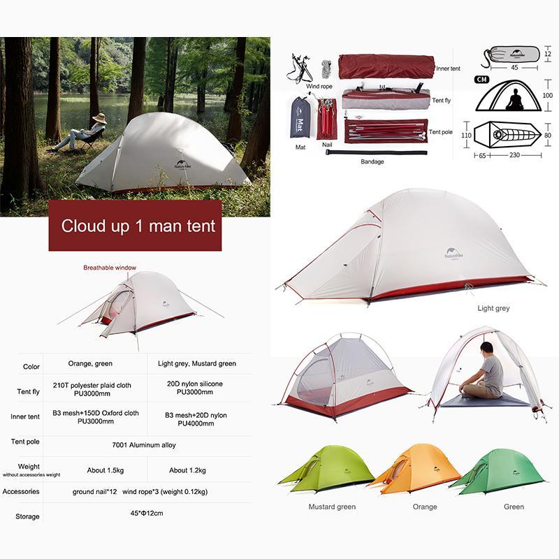 Kích thước của Lều cắm trại Naturehike NH18T010-T 1 người