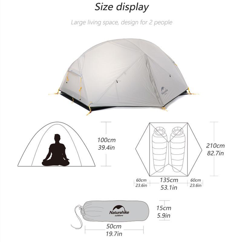 Kích thước của Lều du lịch chống nước Naturehike NH17T007-M 2 người