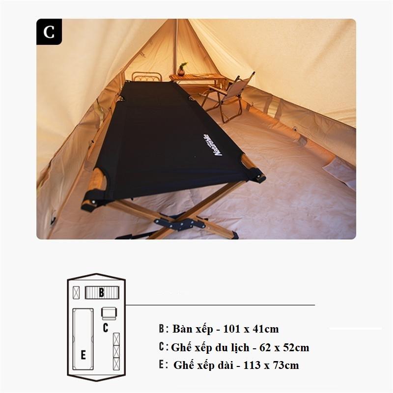 bày trí không gian trong lều du mục Naturehike Glamping Tower 5.6