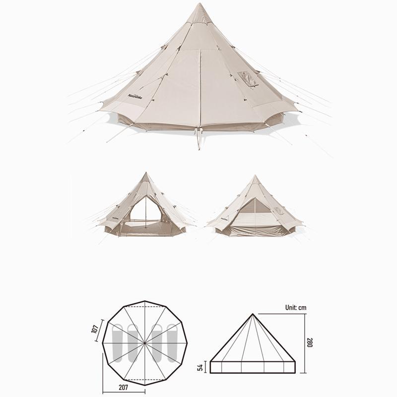Kích thước của Lều mông cổ Naturehike Glamping Pyramid 12.3