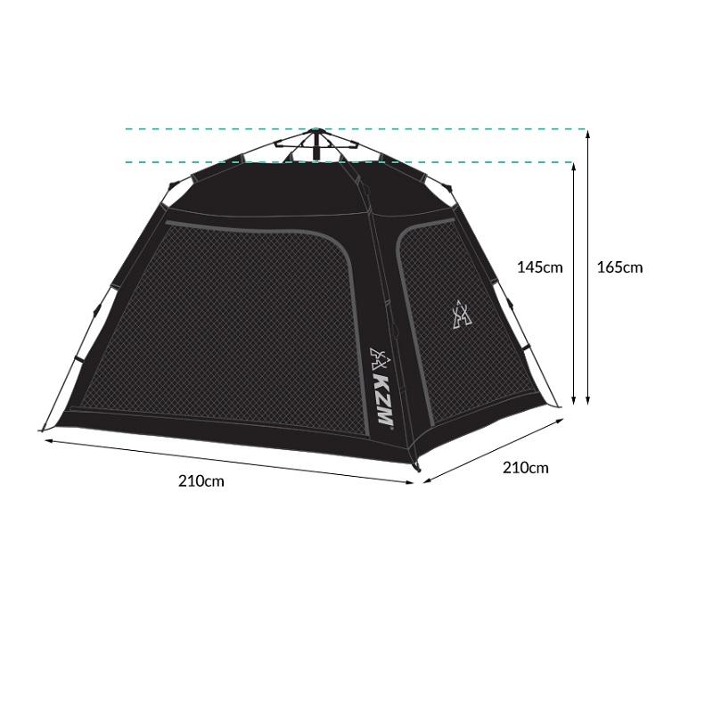 Kích thước của Lều tự bung 4 người Kazmi K20T3T002