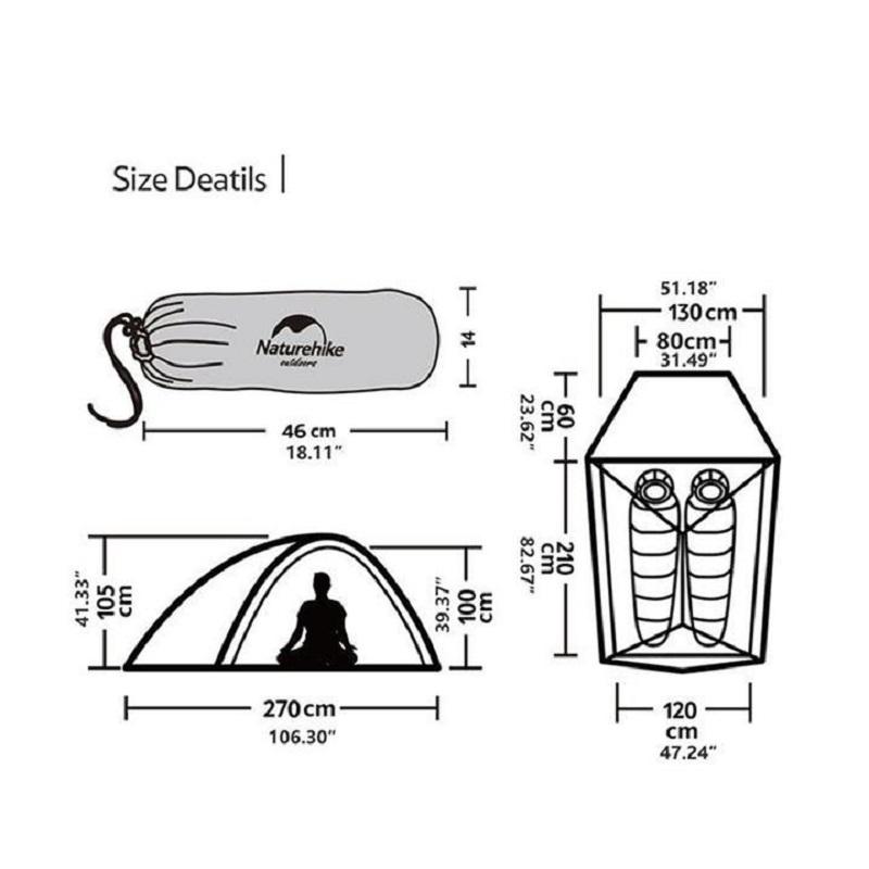 Kích thước của Lều cắm trại du lịch Naturehike NH19ZP017 2 người