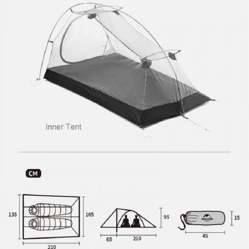 Kích thước của Lều du lịch cắm trại Naturehike NH20ZP091 2 người