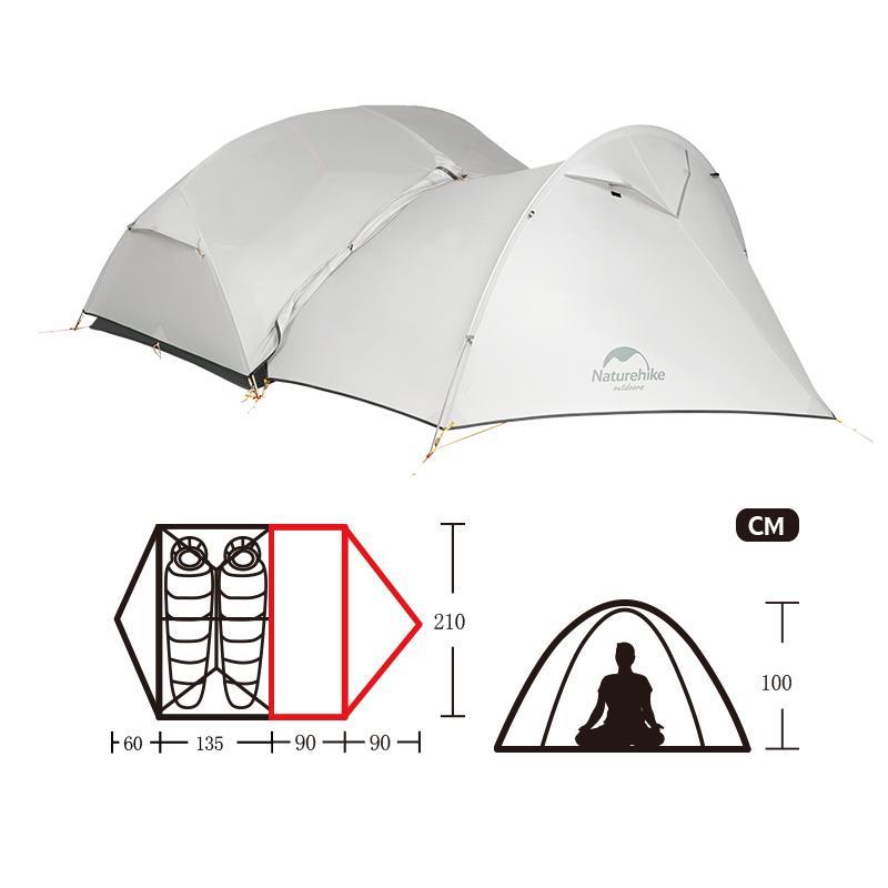 Kích thước của Lều Naturehike Monger Vestibule NH17T007-Z siêu nhẹ 2 người