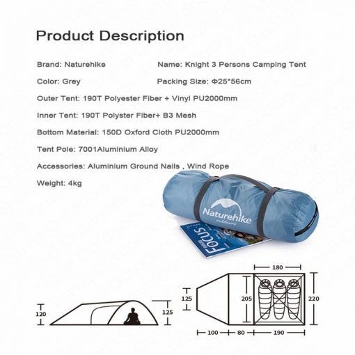 Kích thước của Lều picnic Naturehike NH19G001-Y
