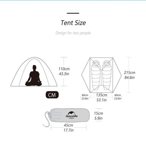 Kích thước của lều cắm trại Naturehike Star-river NH15T012-T 2 người