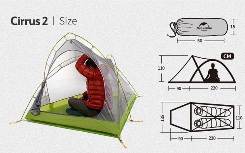 Kích thước của Lều trại siêu nhẹ 2 người Naturehike NH17T0071-T